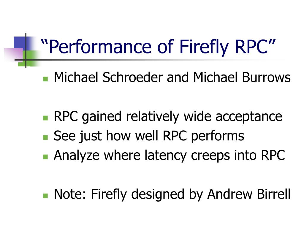 """""""Performance of Firefly RPC"""""""
