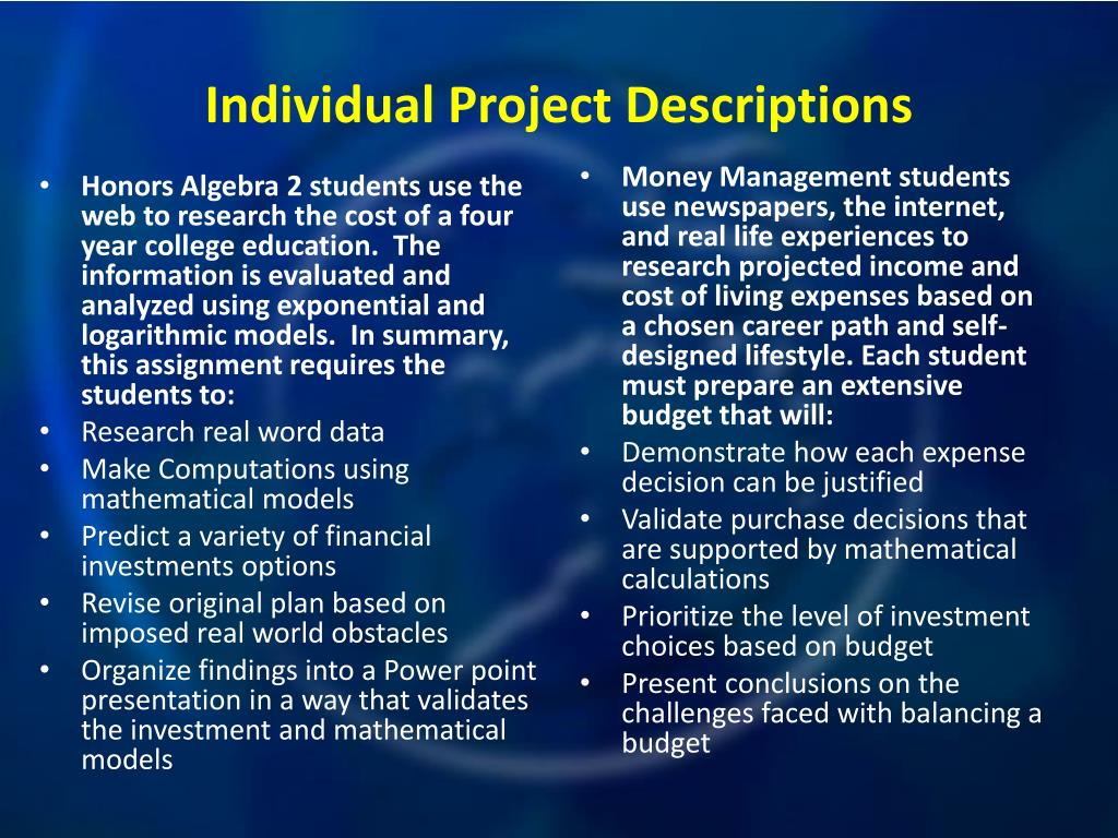 Honors Algebra 2 students use the web to research the cost of a four year college education.  The information is evaluated and analyzed using exponential and logarithmic models.  In summary, this assignment requires the students to: