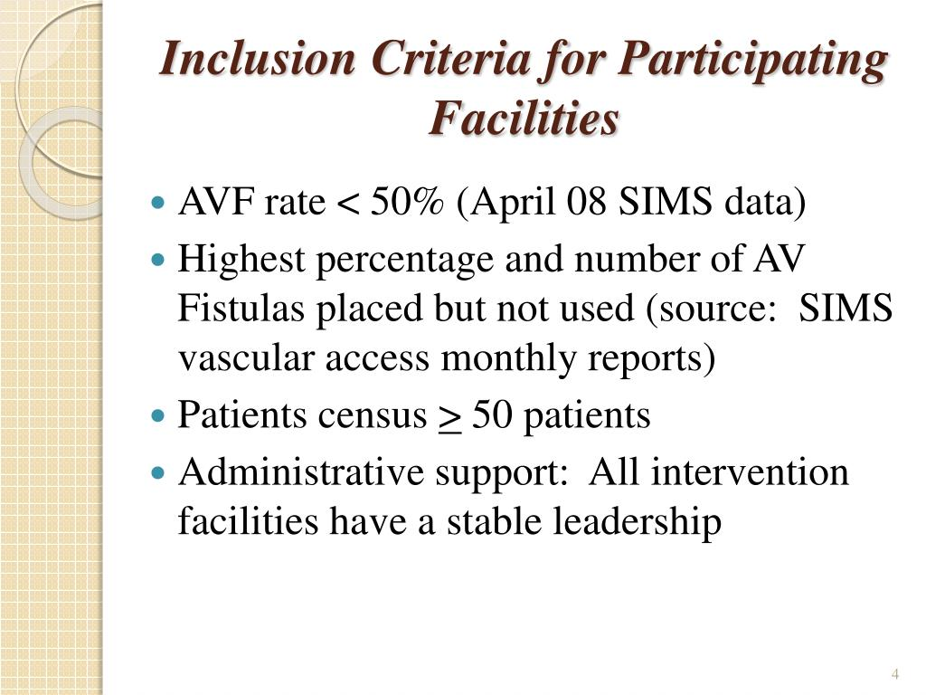 Inclusion Criteria for Participating Facilities