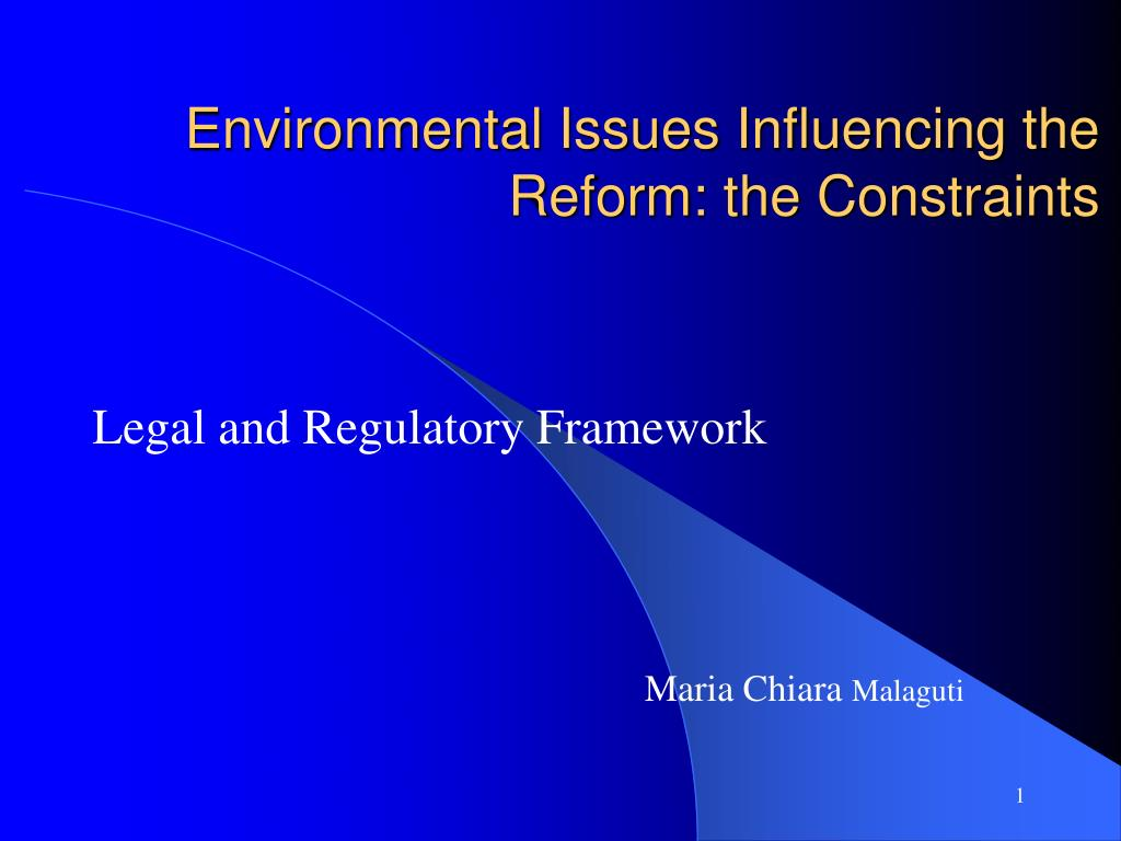 Environmental Issues Influencing the Reform: the Constraints