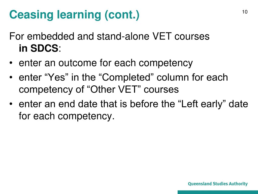 Ceasing learning (cont.)