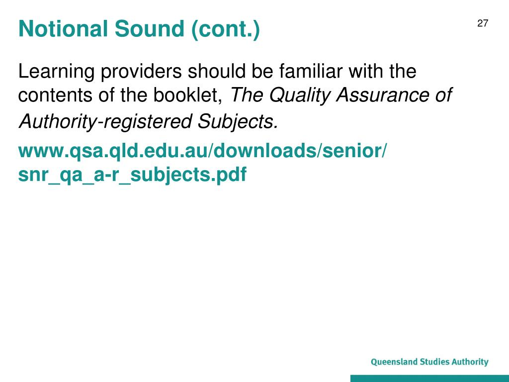 Notional Sound (cont.)