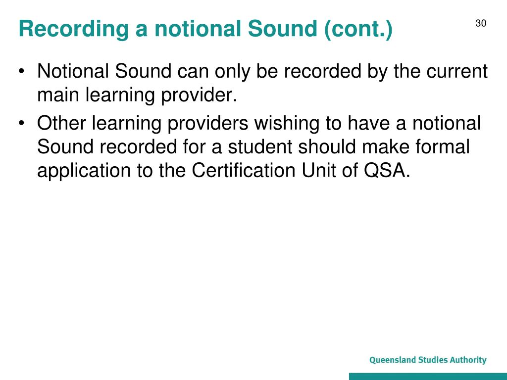 Recording a notional Sound (cont.)