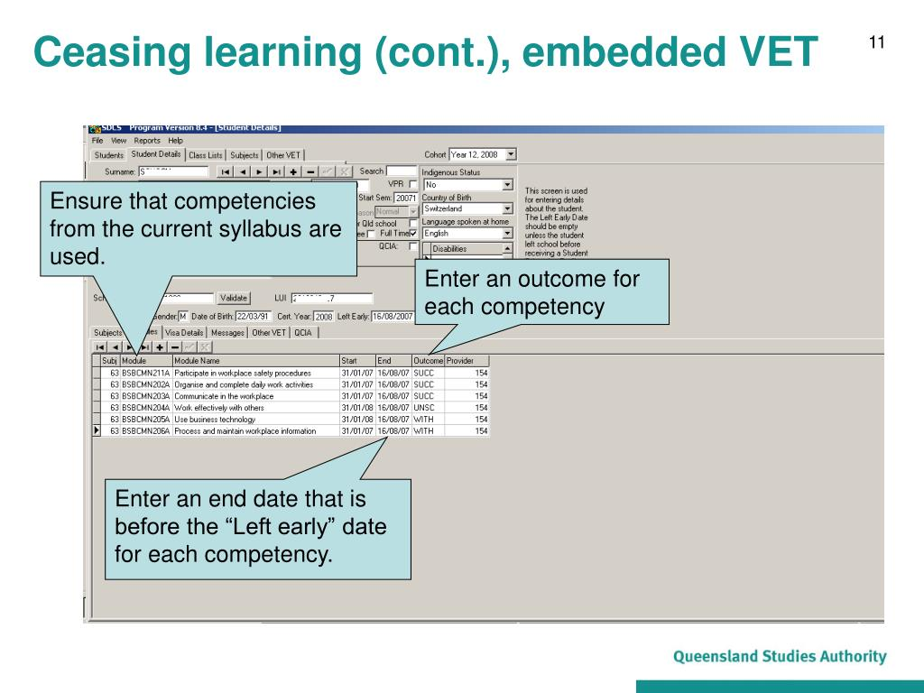 Ceasing learning (cont.), embedded VET