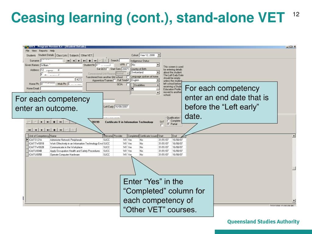 Ceasing learning (cont.), stand-alone VET