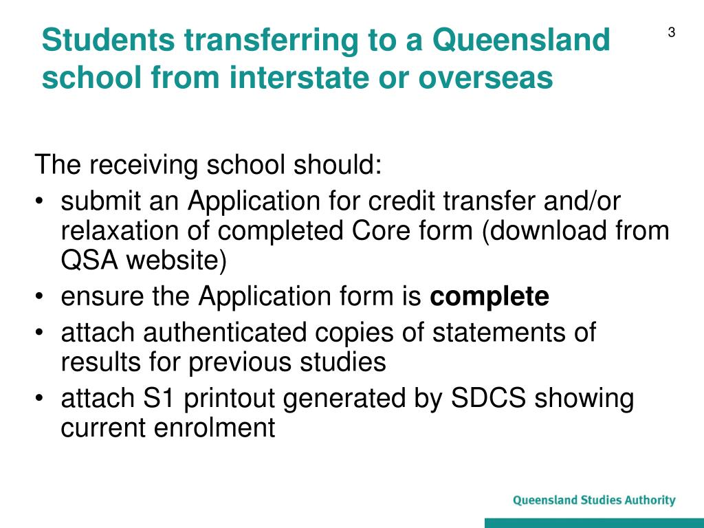 Students transferring to a Queensland school from interstate or overseas