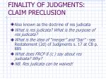 finality of judgments claim preclusion