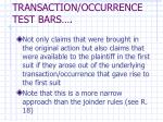 transaction occurrence test bars