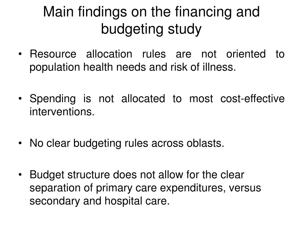 Resource allocation rules are not oriented to population health needs and risk of illness.