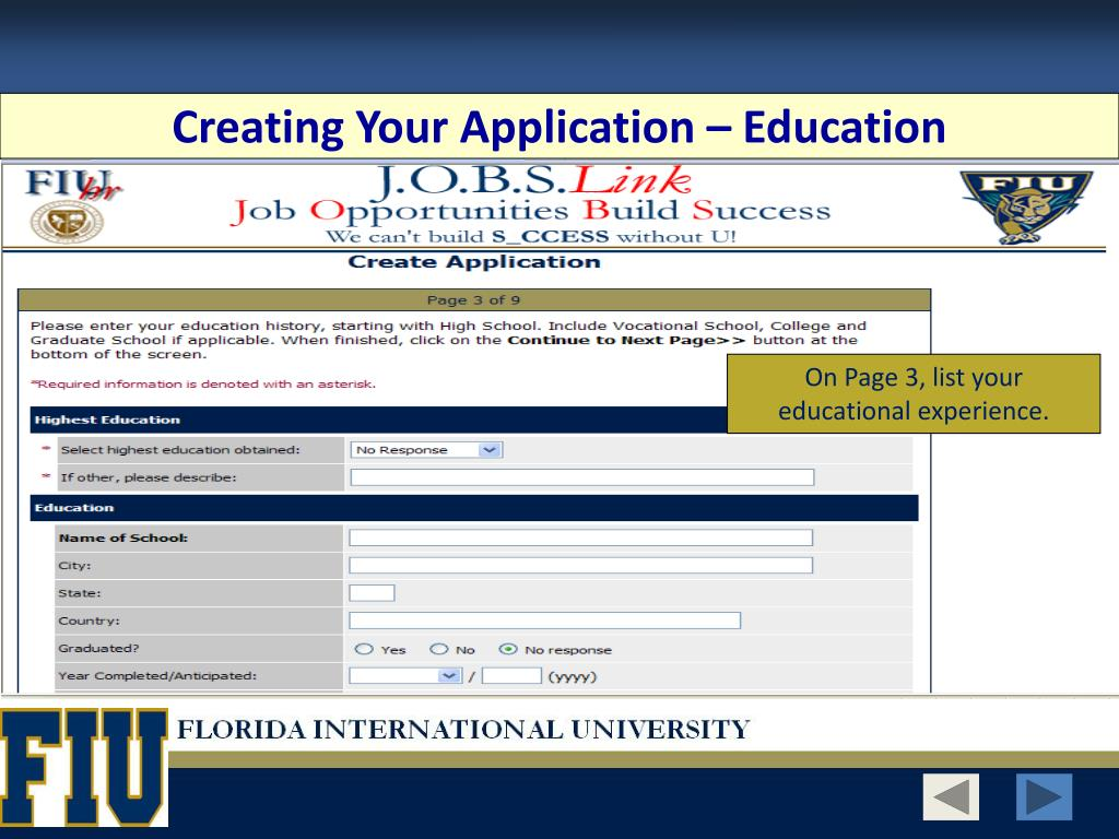 Creating Your Application – Education
