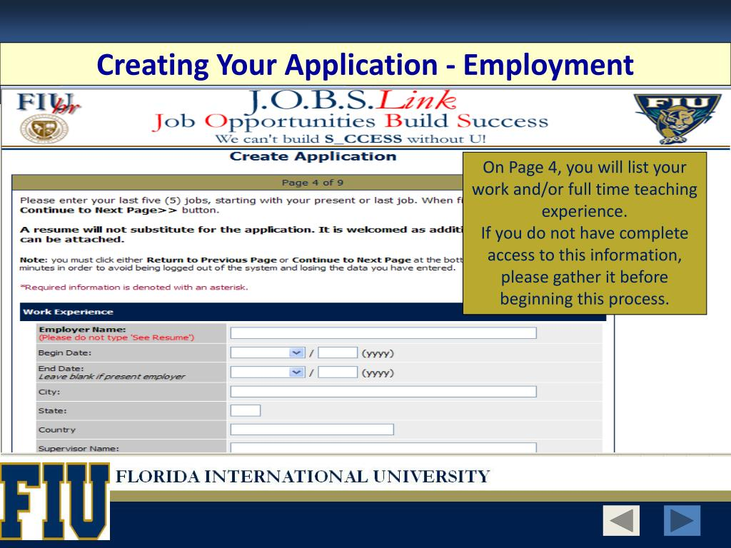 Creating Your Application - Employment