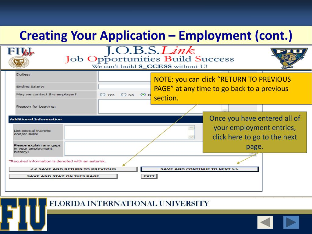Creating Your Application – Employment (cont.)