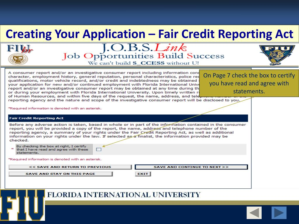 Creating Your Application – Fair Credit Reporting Act