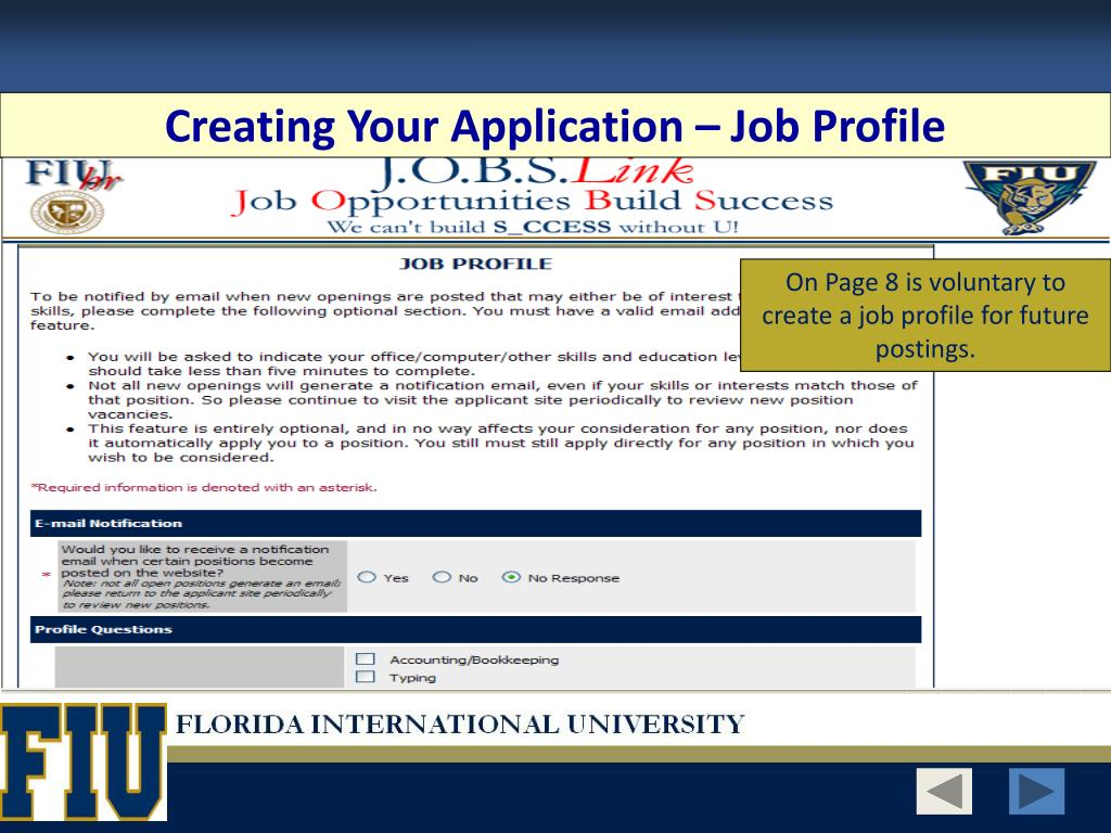 Creating Your Application – Job Profile