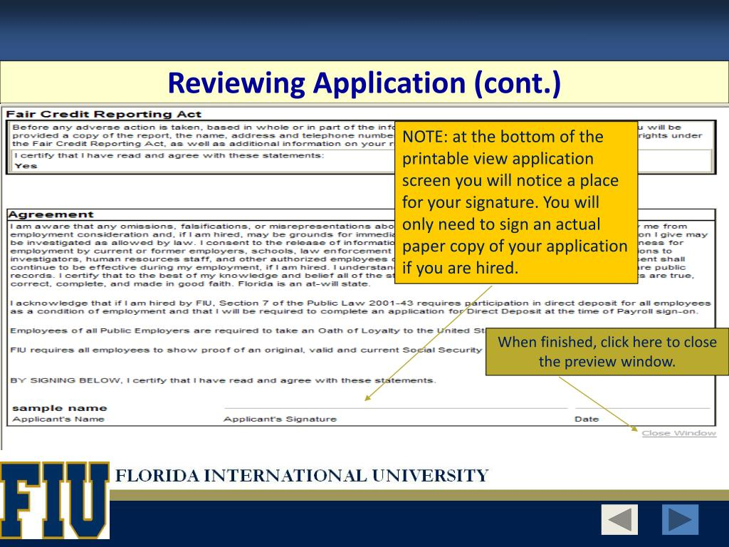 Reviewing Application (cont.)