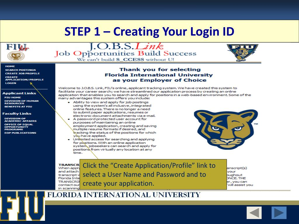 STEP 1 – Creating Your Login ID