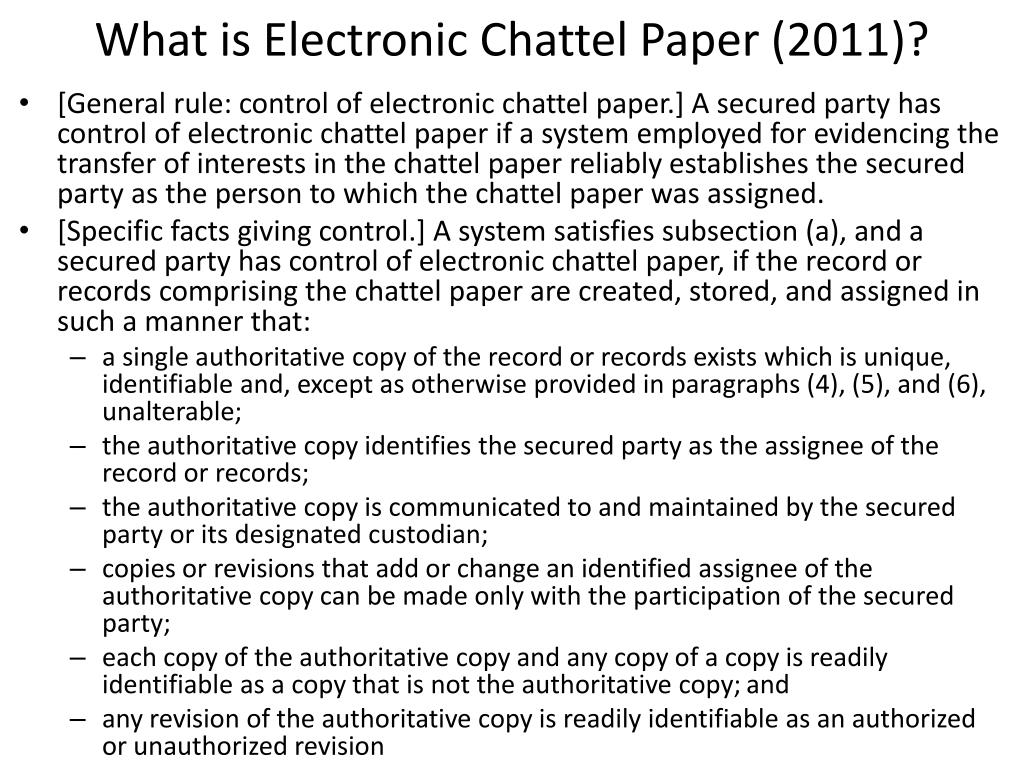 What is Electronic Chattel Paper (2011)?