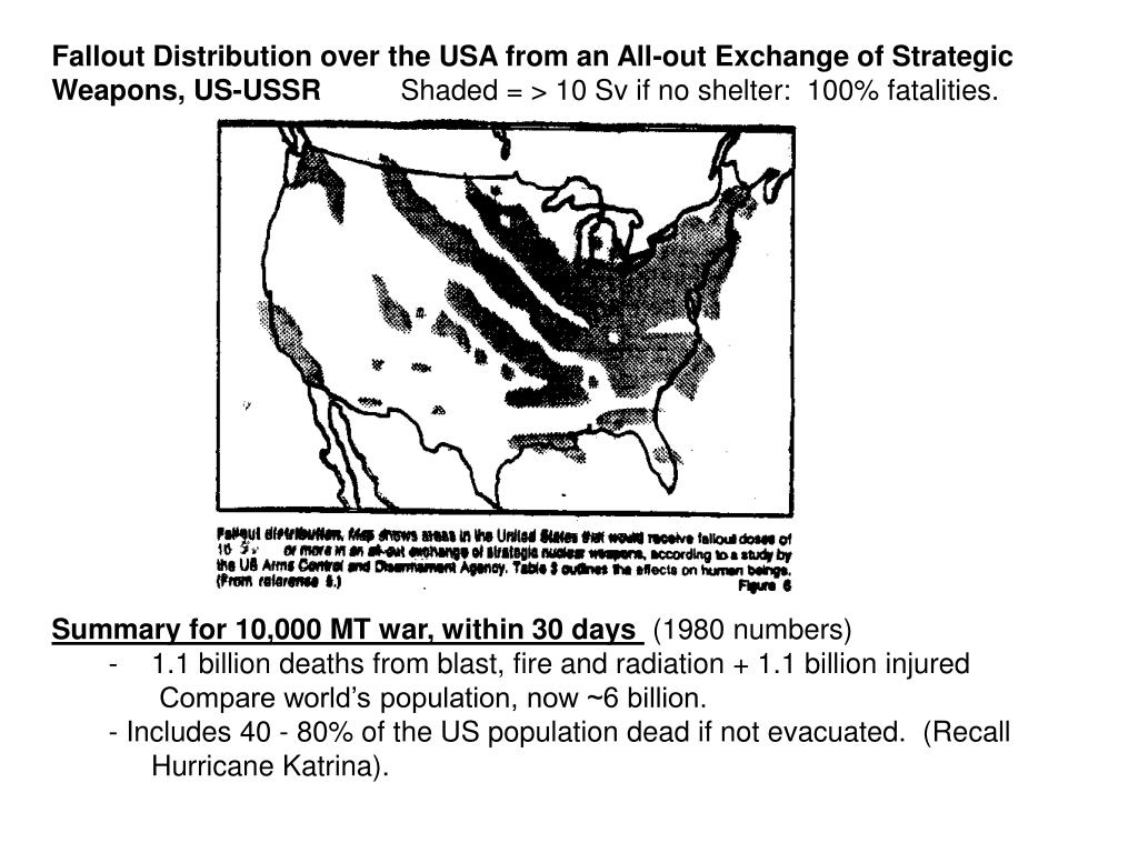 Fallout Distribution over the USA from an All-out Exchange of Strategic Weapons, US-USSR