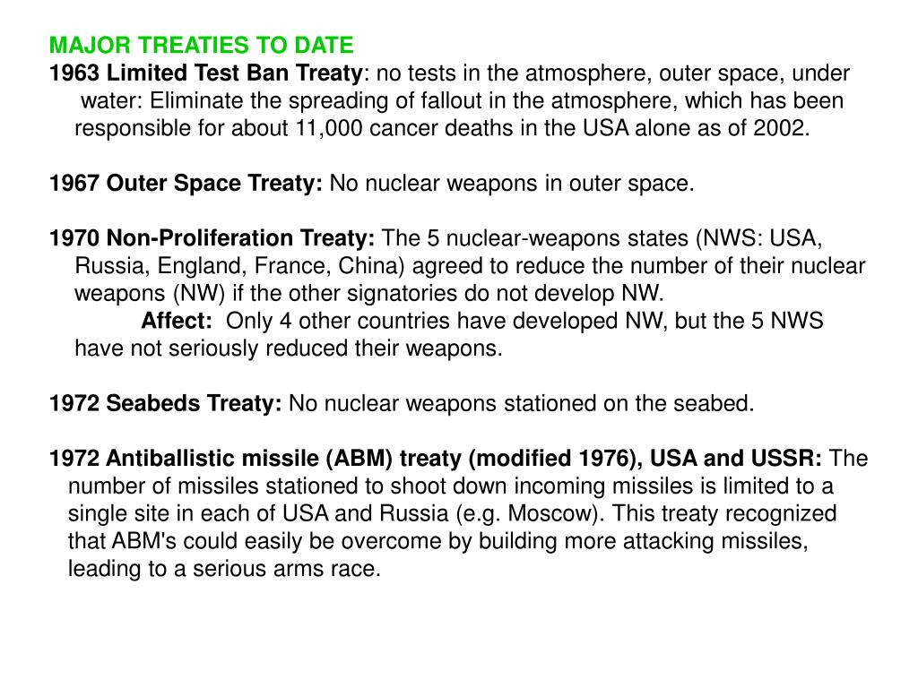 MAJOR TREATIES TO DATE