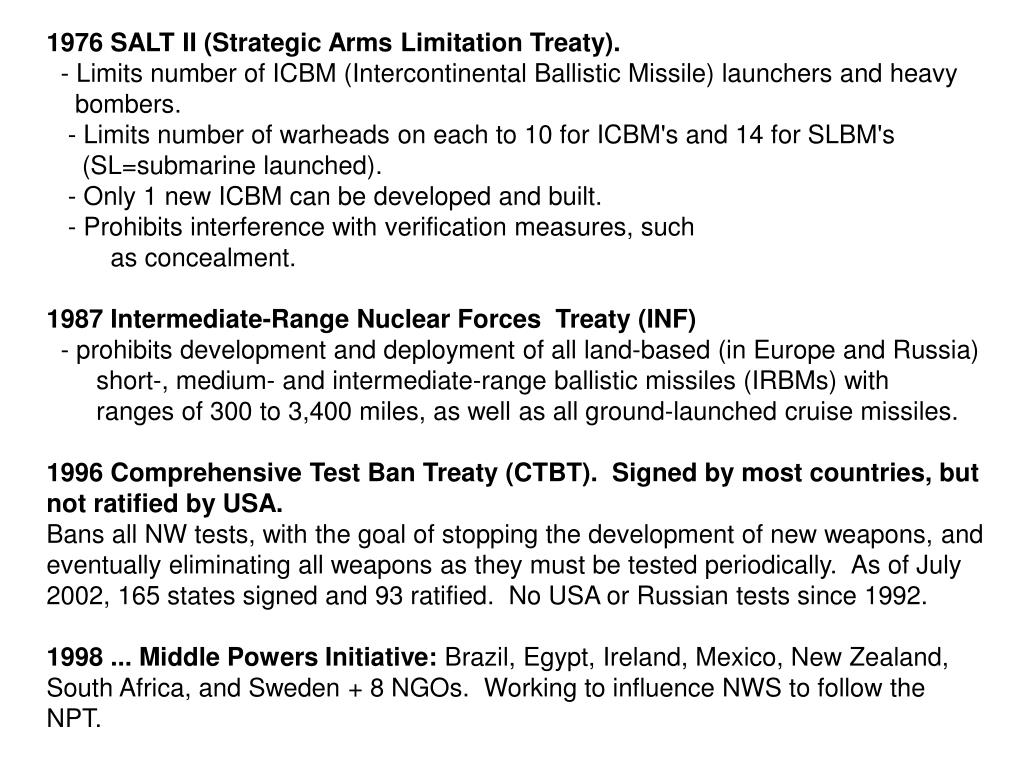 1976 SALT II (Strategic Arms Limitation Treaty).
