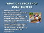 what one stop shop does cont d