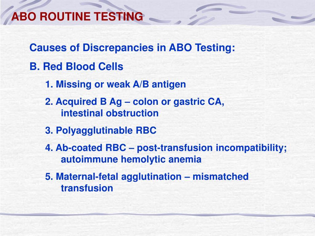 ABO ROUTINE TESTING