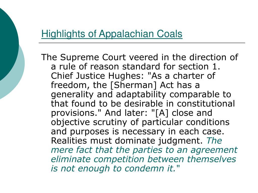 Highlights of Appalachian Coals