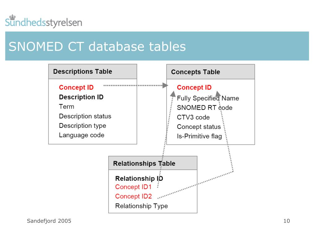 SNOMED CT database tables