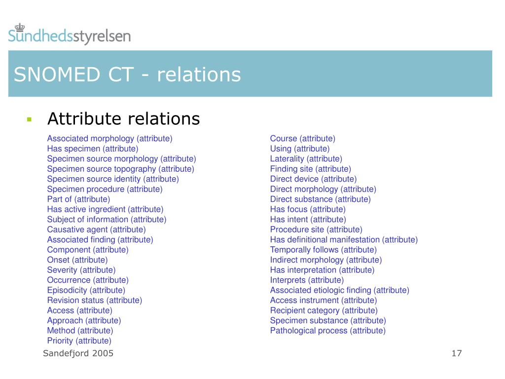 SNOMED CT - relations