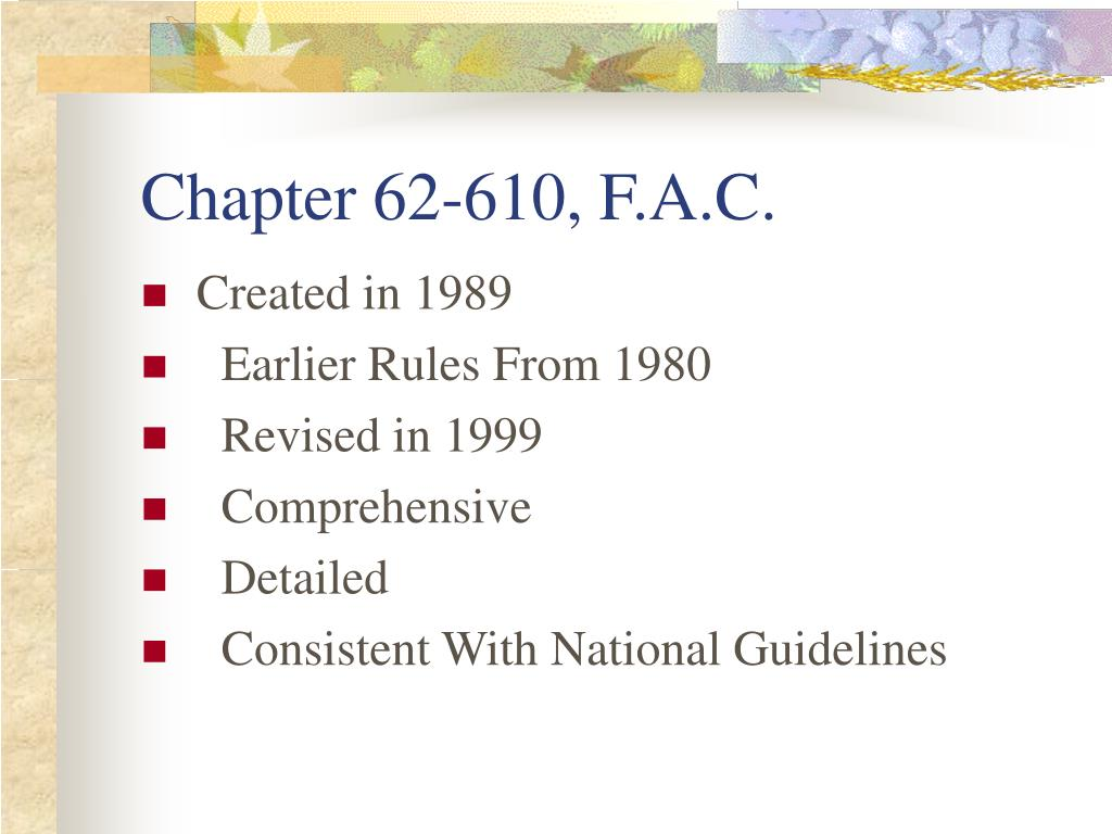 Chapter 62-610, F.A.C.
