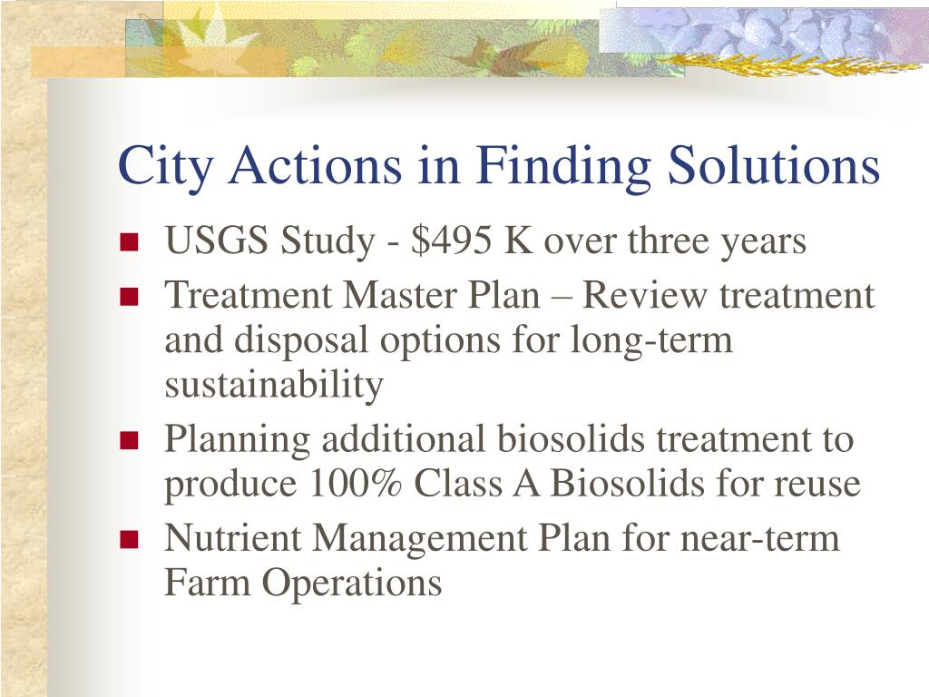 City Actions in Finding Solutions