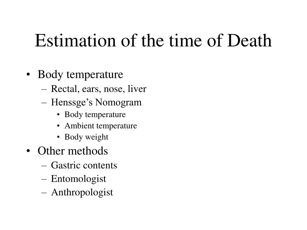 Estimation of the time of Death