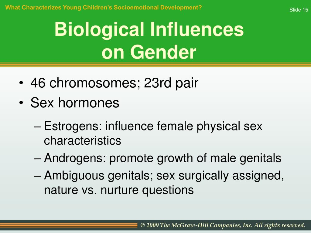 """chemical influences and gender identity The answer goes to the heart of the gender """"identity"""" — what makes a  between  gender identity and biological / social / cultural influences, we."""