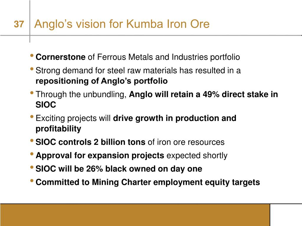 Anglo's vision for Kumba Iron Ore