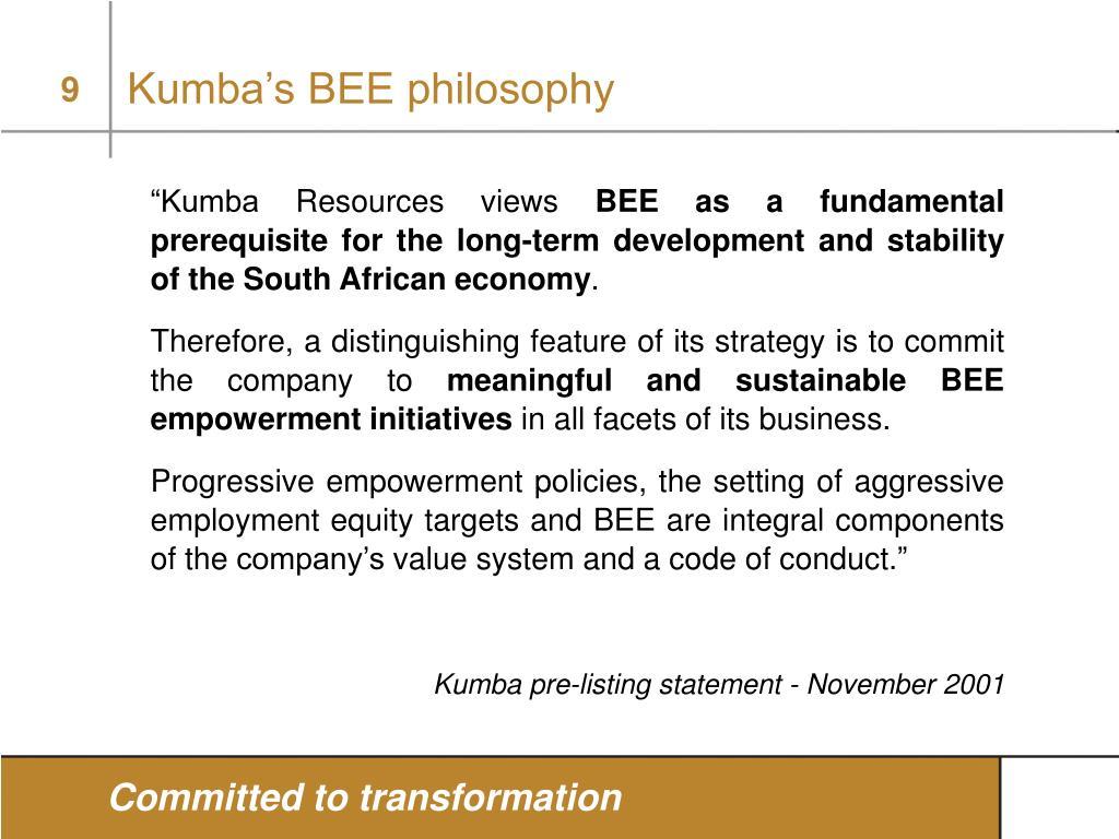 Kumba's BEE philosophy