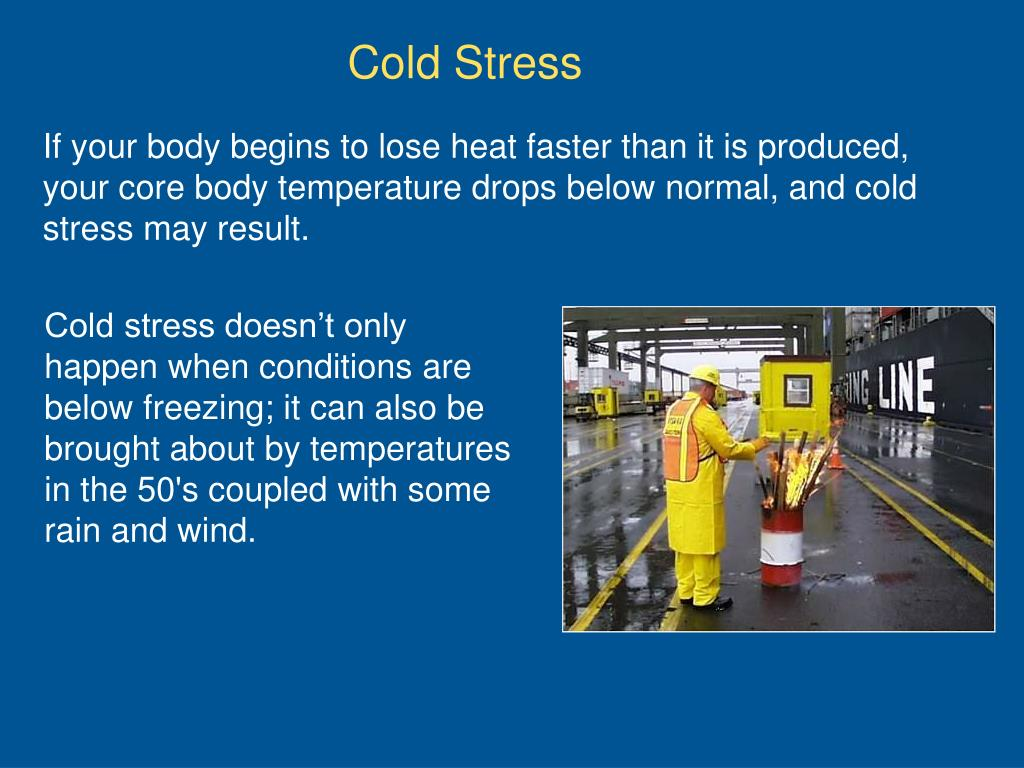 If your body begins to lose heat faster than it is produced, your core body temperature drops below normal, and cold stress may result.