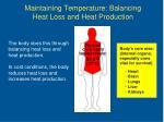 maintaining temperature balancing heat loss and heat production