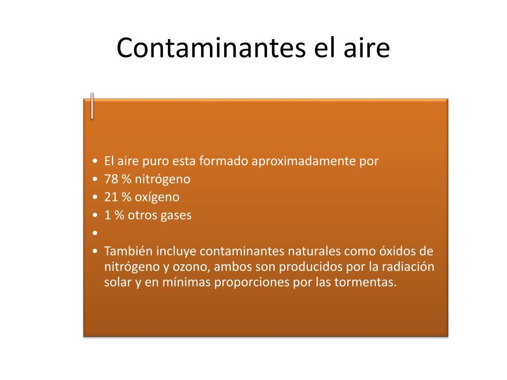 Contaminantes el aire