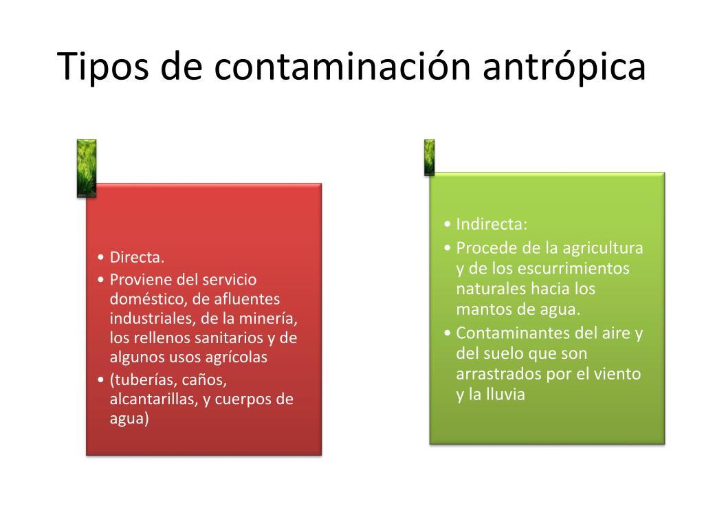 Tipos de contaminación antrópica