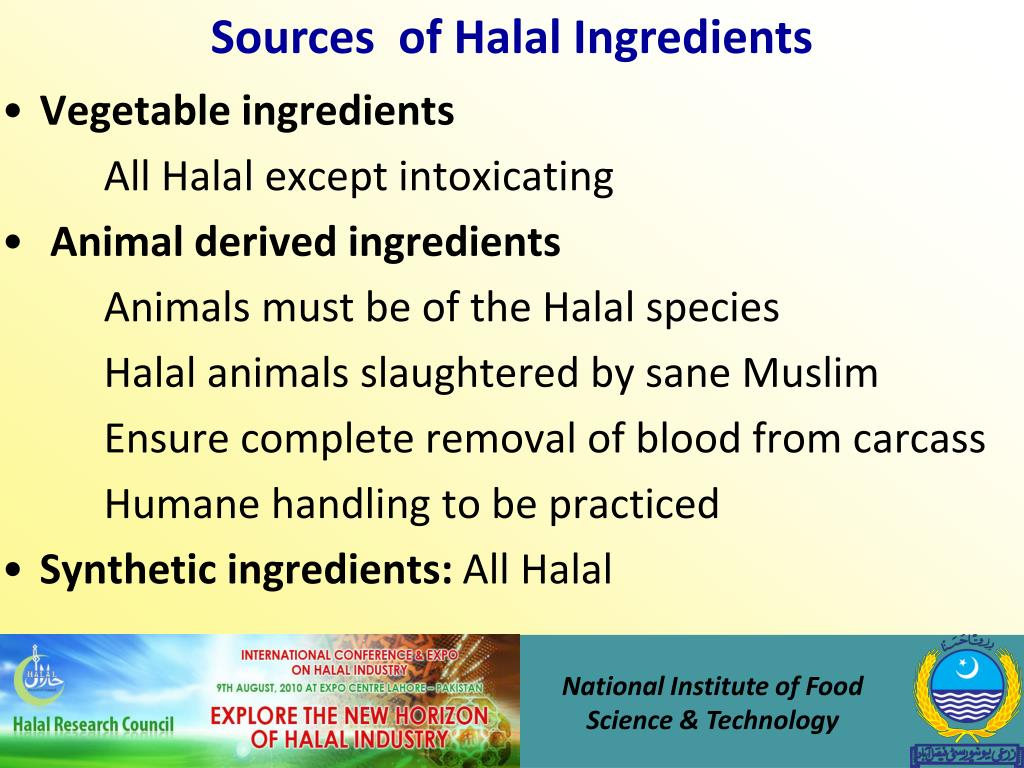 Sources  of Halal Ingredients