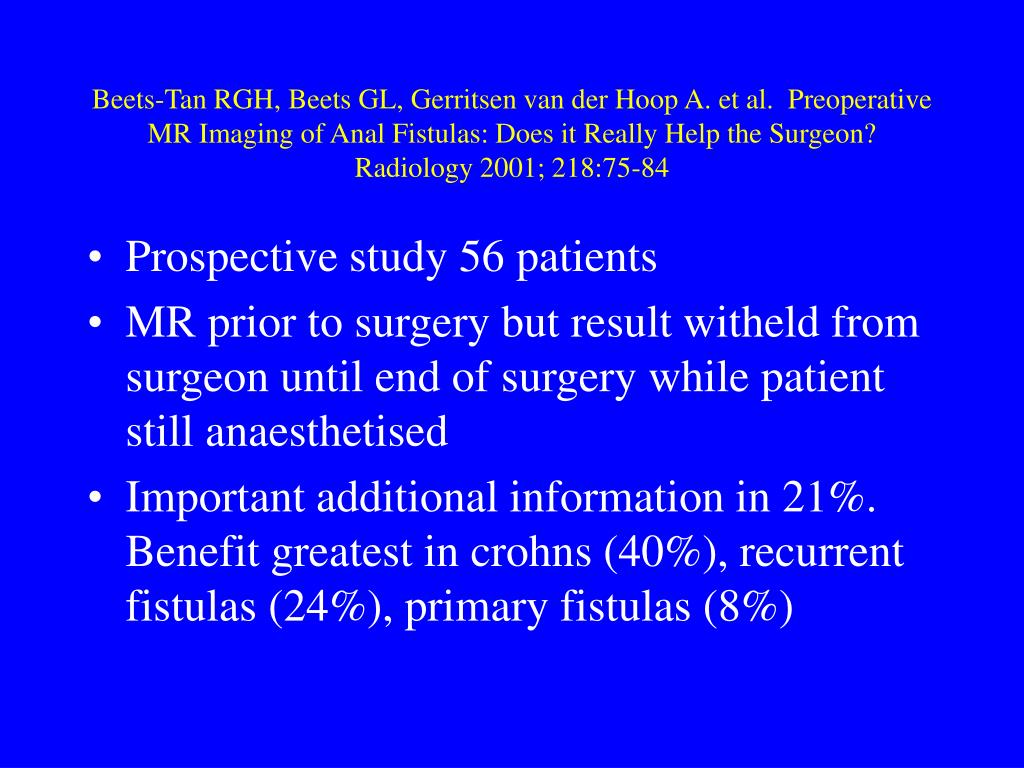 Beets-Tan RGH, Beets GL, Gerritsen van der Hoop A. et al.  Preoperative MR Imaging of Anal Fistulas: Does it Really Help the Surgeon?  Radiology 2001; 218:75-84