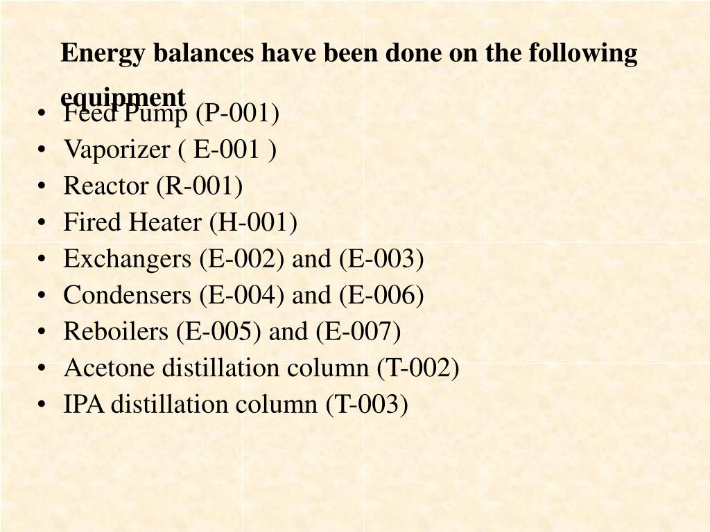 Energy balances have been done on the following equipment