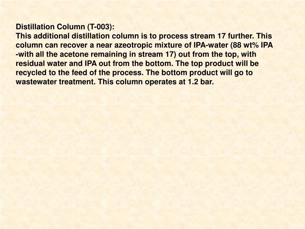 Distillation Column (T-003):