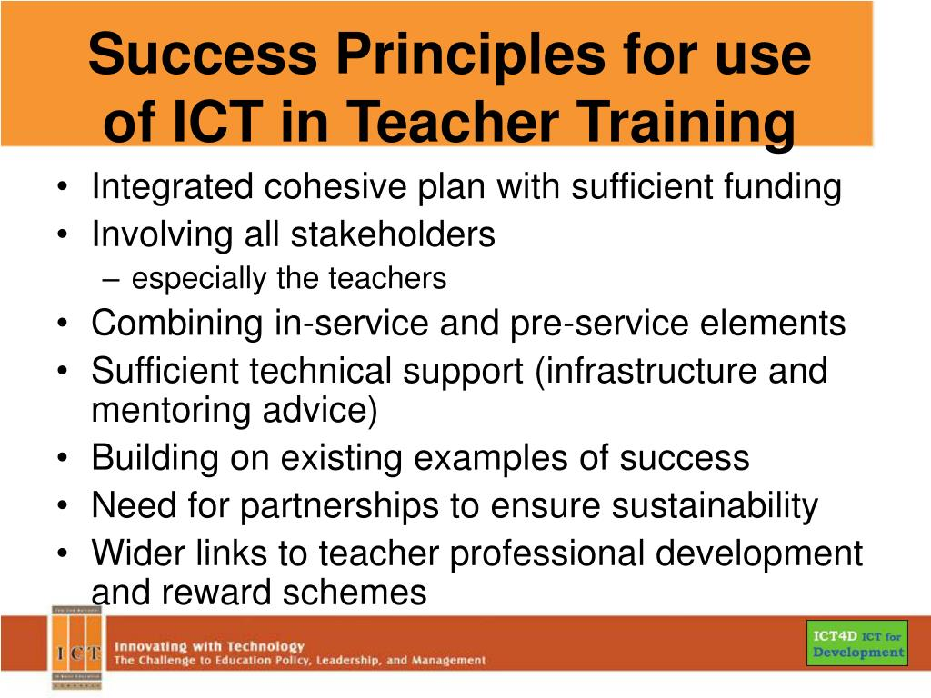 Success Principles for use of ICT in Teacher Training