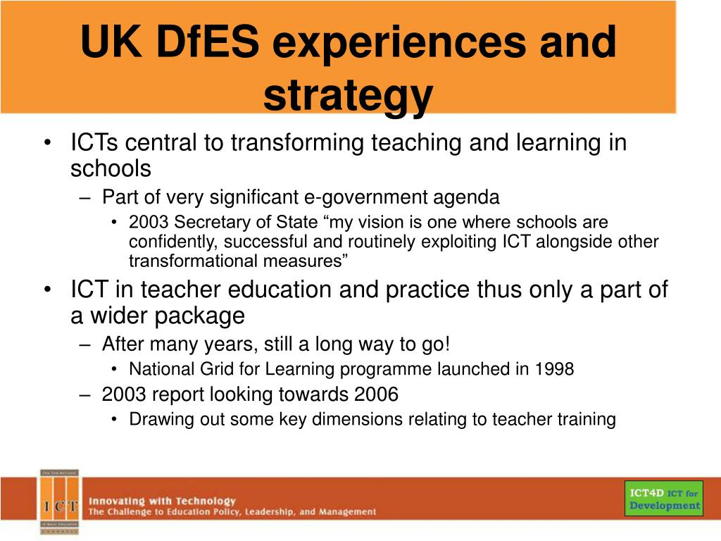 UK DfES experiences and strategy