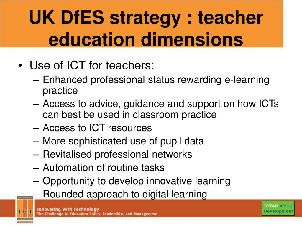 UK DfES strategy : teacher education dimensions