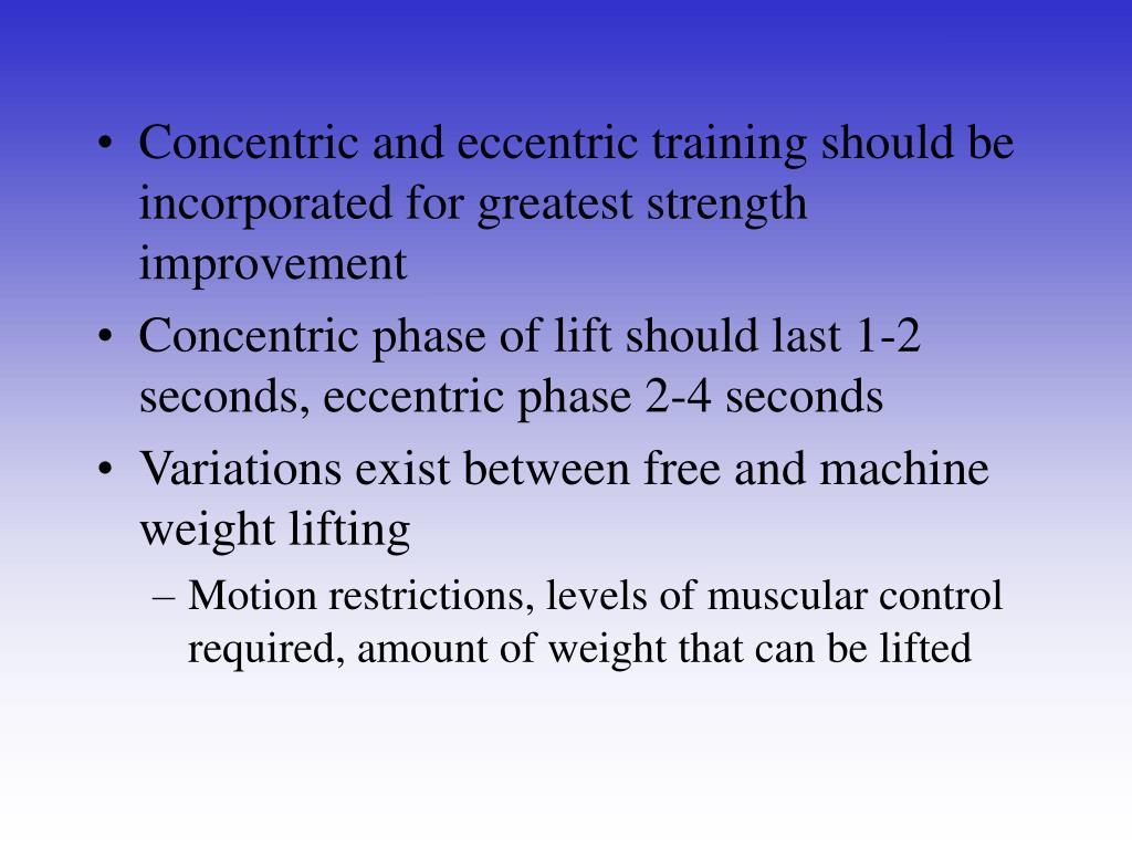 Concentric and eccentric training should be incorporated for greatest strength improvement