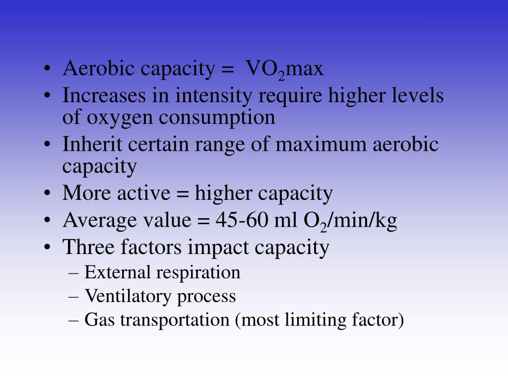Aerobic capacity =  VO