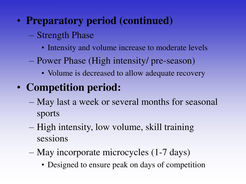 Preparatory period (continued)