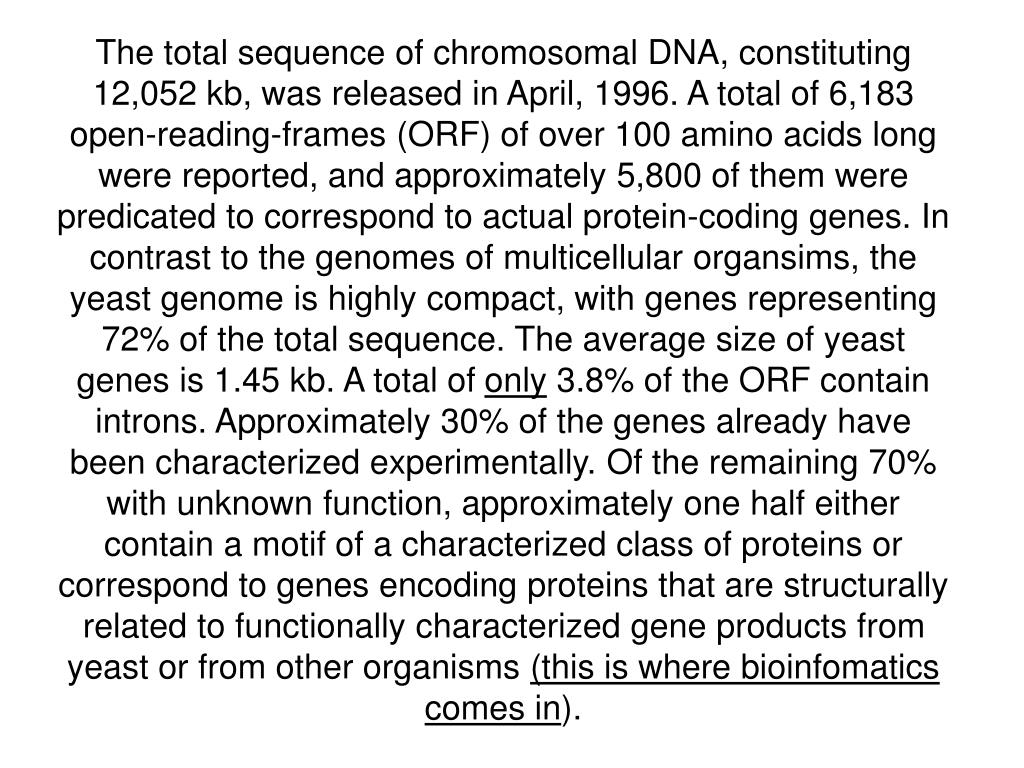 The total sequence of chromosomal DNA, constituting 12,052 kb, was released in April, 1996. A total of 6,183 open-reading-frames (ORF) of over 100 amino acids long were reported, and approximately 5,800 of them were predicated to correspond to actual protein-coding genes. In contrast to the genomes of multicellular organsims, the yeast genome is highly compact, with genes representing 72% of the total sequence. The average size of yeast genes is 1.45 kb. A total of